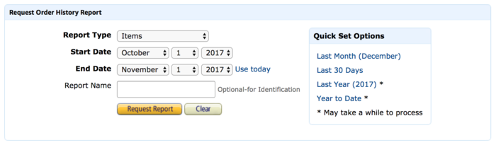 Amazon's interface for downloading reports